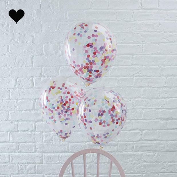Confetti ballonnen regenboog (5st)-2