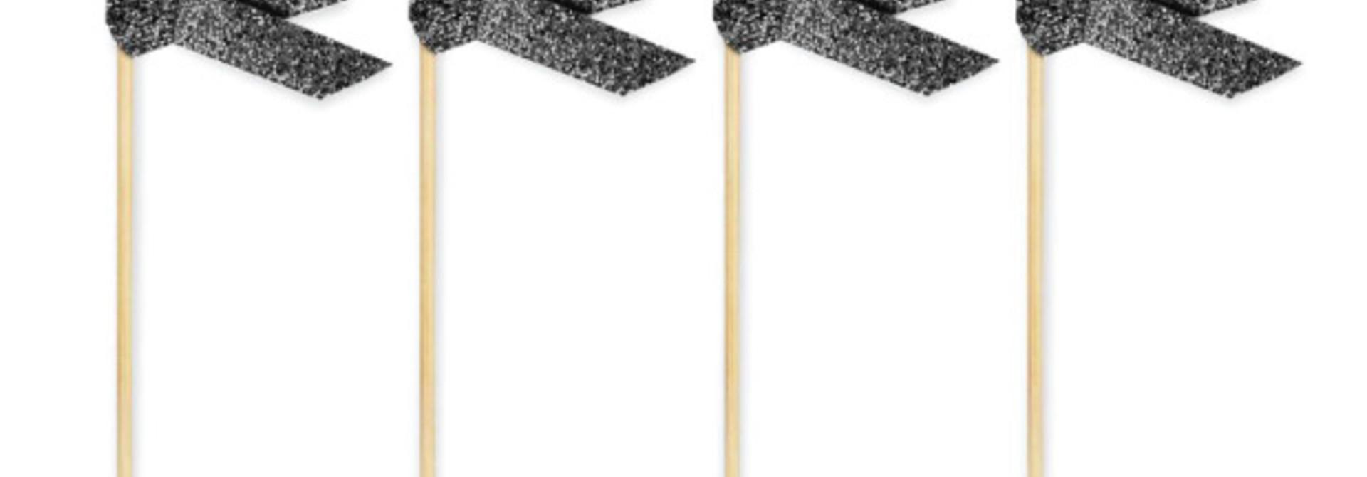 Prikkers met lint zwart glitter (20 st)