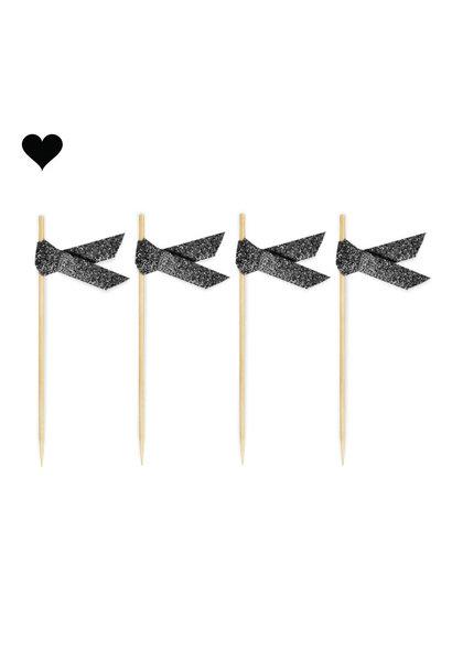Prikkers met lint zwart glitter (20st) Delight Department