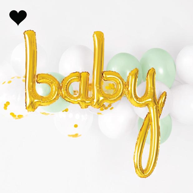 Folieballon script baby goud (74 cm)-2