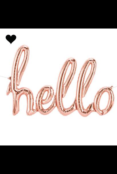 Folieballon hello roze goud (119 cm)