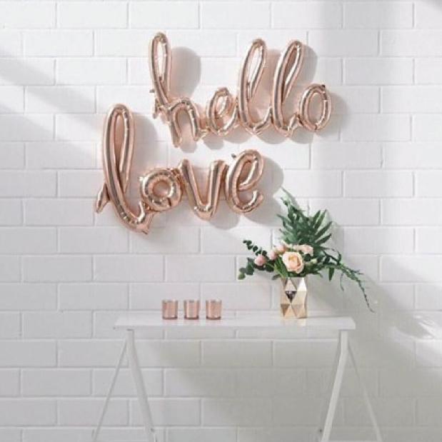 Folieballon hello roze goud (119 cm)-2