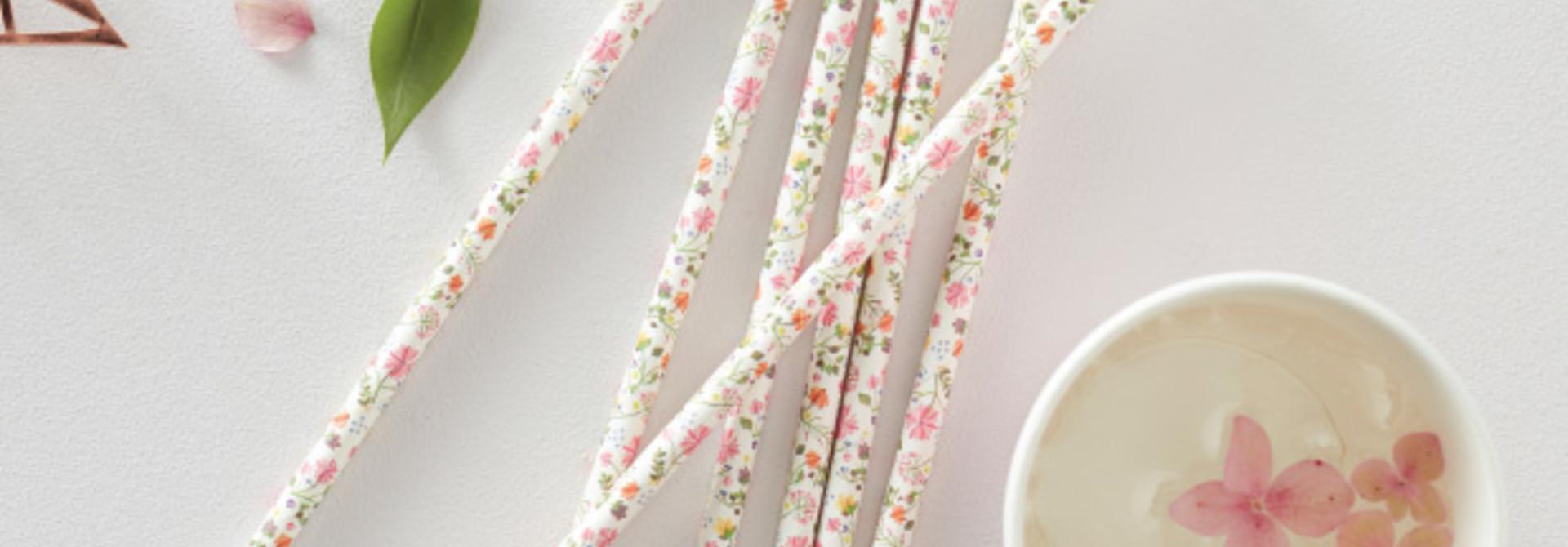 Papieren rietjes bloemen (25 st)  Ginger Ray