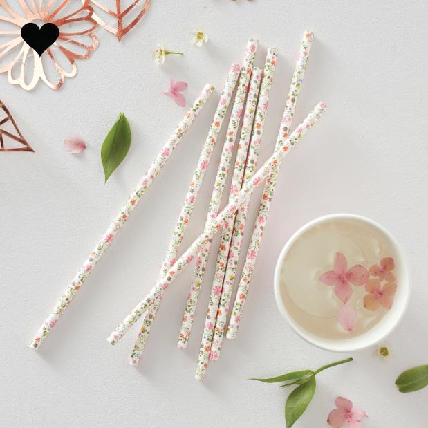 Papieren rietjes bloemen (25 st)  Ginger Ray-1