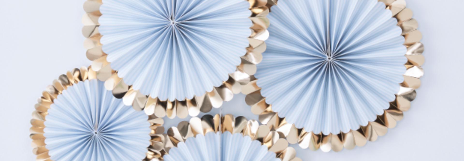 Paper fans lichtblauw goud (5 st) - Ginger Ray