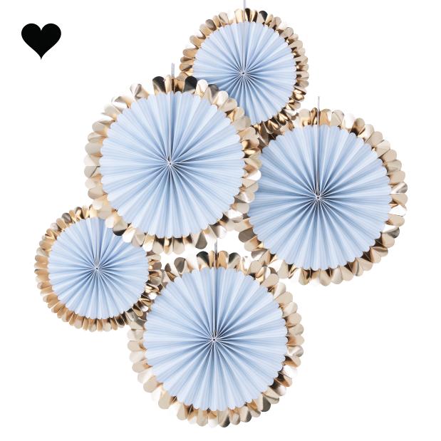 Paper fans lichtblauw goud (5 st) - Ginger Ray-2