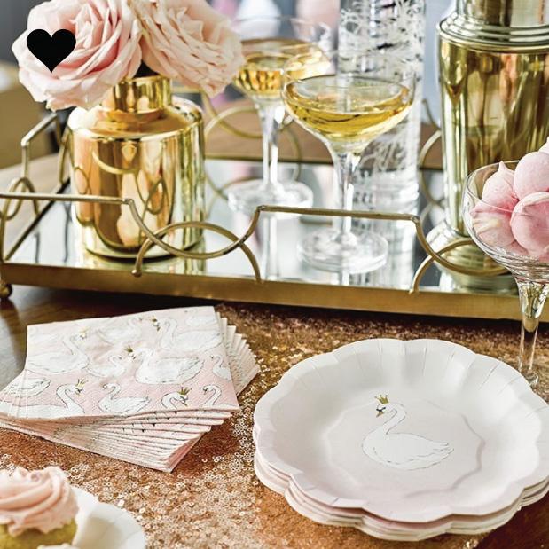 We heart swans gebaksbordjes (12 st) - Talking Tables-2
