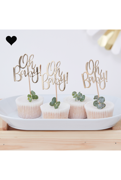 Cupcake toppers Oh baby (12 st) - Ginger Ray