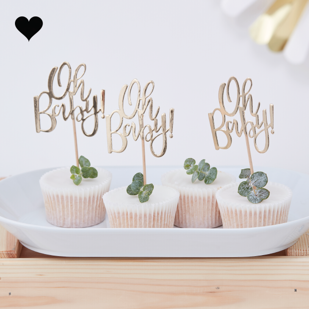 Cupcake toppers Oh baby (12 st) - Ginger Ray-1