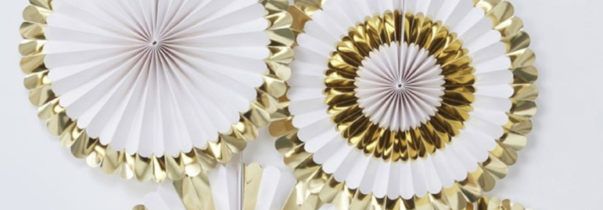 Paper fans goudfolie (5 st) - Ginger Ray