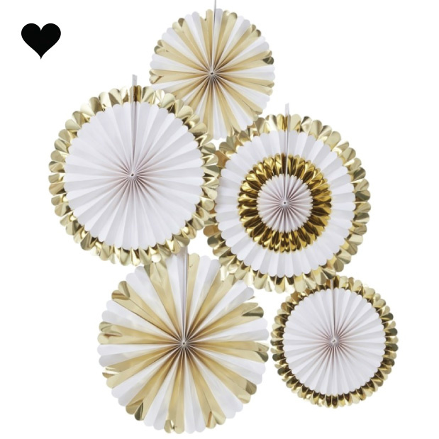 Paper fans goudfolie (5 st) - Ginger Ray-2