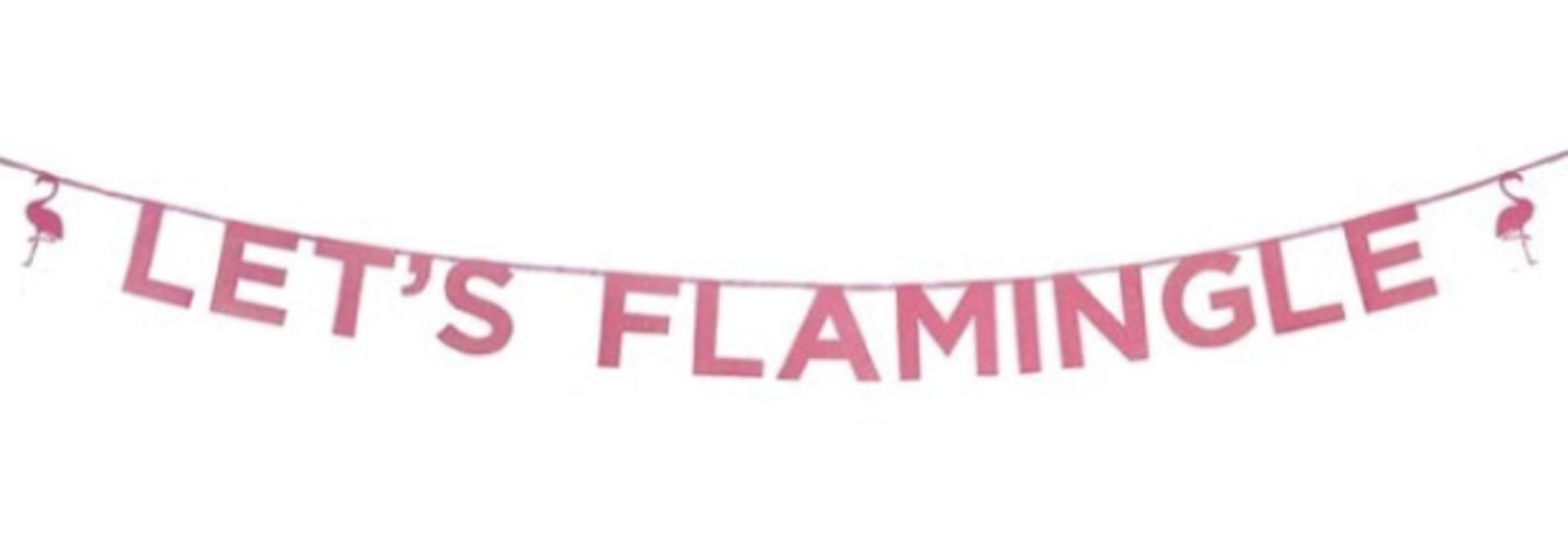 Let's Flamingle roze glitter slinger (3 m)- Talking Tables