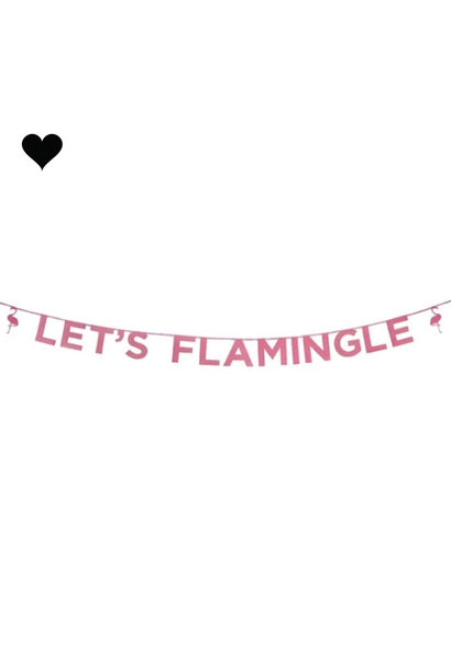 Let's Flamingle roze glitter slinger (3 m)- Talking Tables
