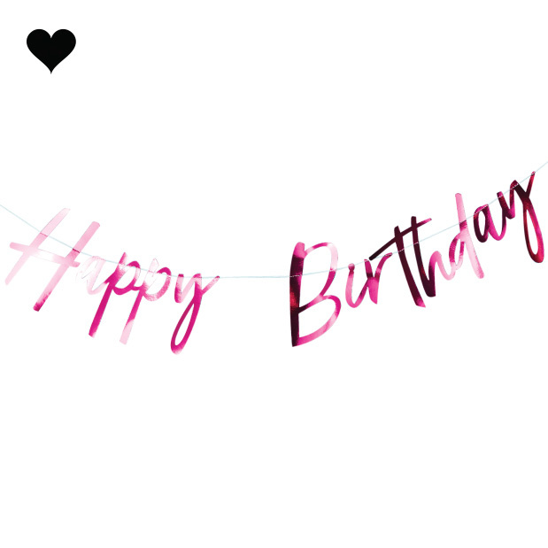 Happy Birthday slinger roze - Ginger Ray-1