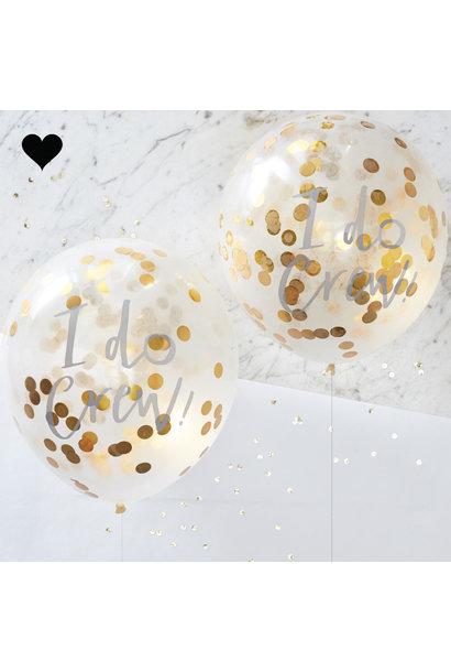 Confetti ballonnen goud I do crew (5 st) Ginger Ray