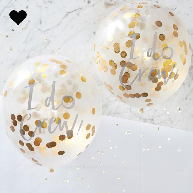 Confetti ballonnen goud I do crew (5 st) Ginger Ray-1