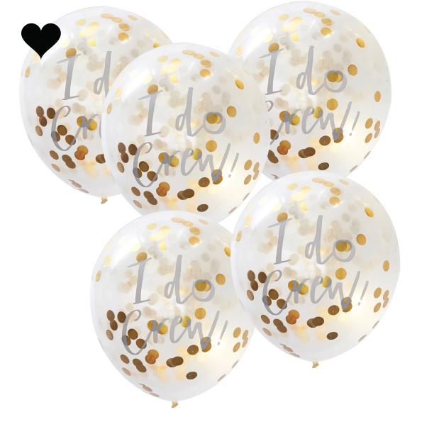 Confetti ballonnen goud I do crew (5 st) Ginger Ray-2