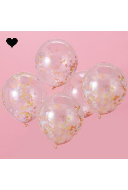 Confetti ballonnen sterren (5 st) - Ginger Ray