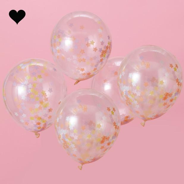 Confetti ballonnen sterren (5 st) - Ginger Ray-1