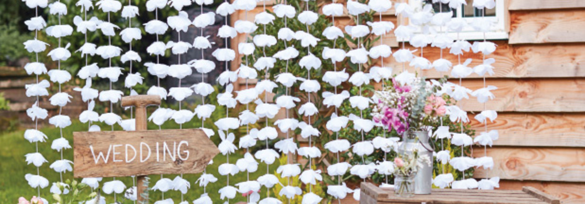 Backdrop bloemen wit rustic country - Ginger Ray