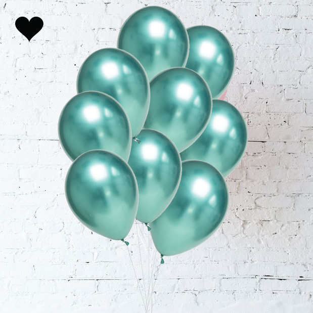 Green Chrome Balloon Bouquet (10 st)-1