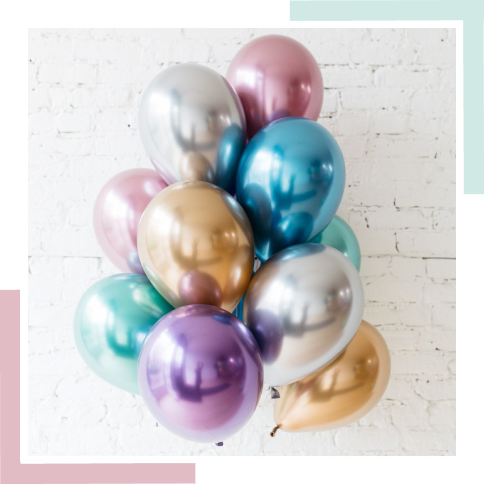 Green Chrome Balloon Bouquet (10 st)-3