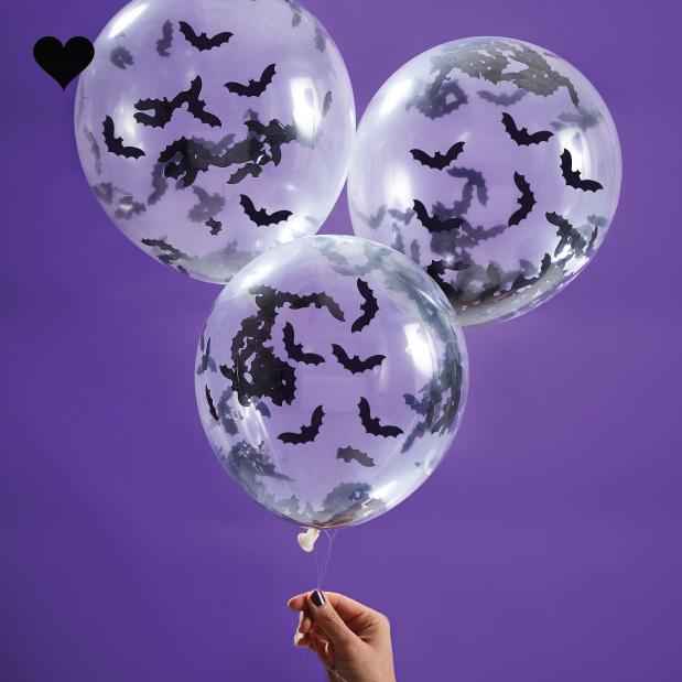 Ballonnen met vleermuis confetti (5st) Ginger Ray-2