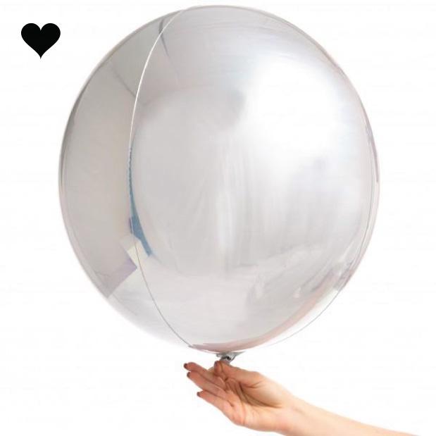 Orbz folieballon zilver (40 cm)-3