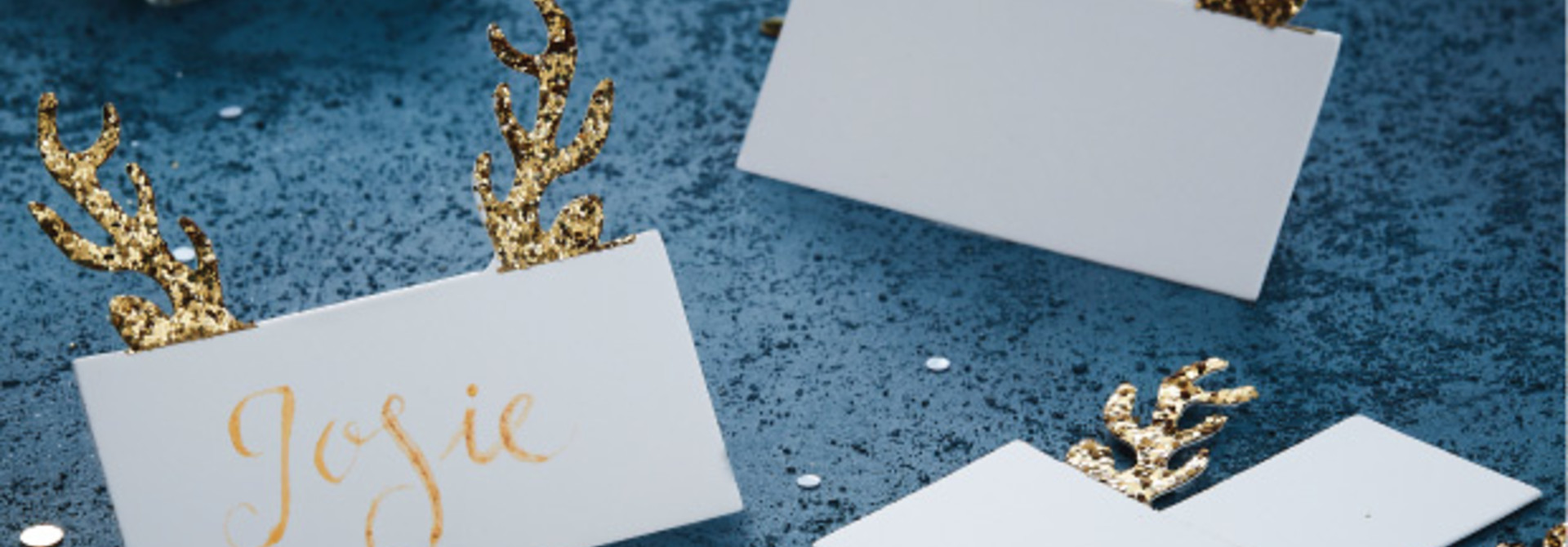 Plaatskaartjes rendierengewei (10 st) - Gold Christmas