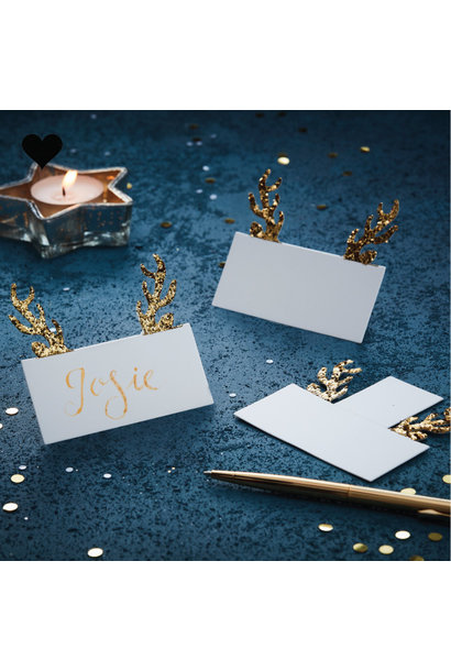 Plaatskaartjes rendierengewei (10st) Gold Christmas