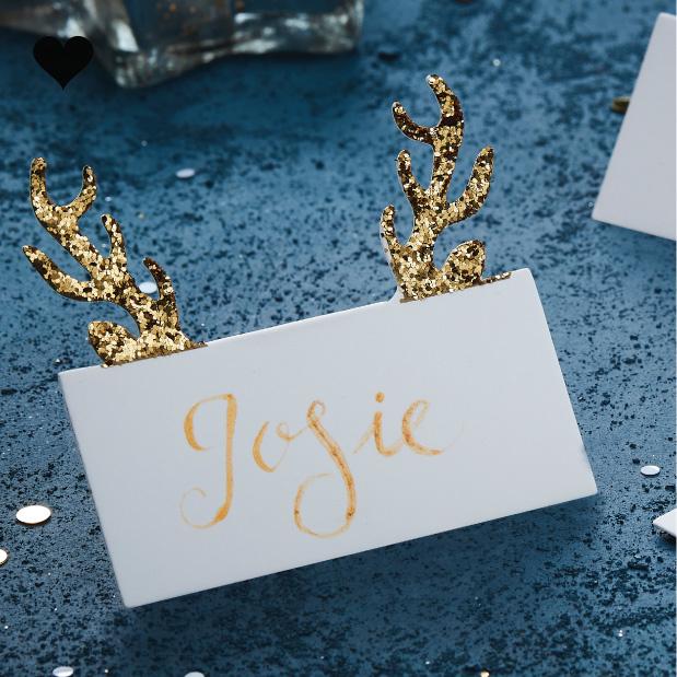 Plaatskaartjes rendierengewei (10 st) - Gold Christmas-2