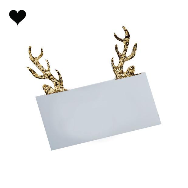 Plaatskaartjes rendierengewei (10 st) - Gold Christmas-3