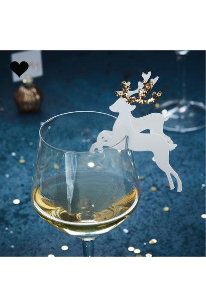 Glas markers rendieren goud (10 st) - Gold Christmas