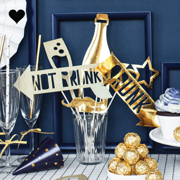 Photobooth Party props goudfolie (8st) Golden Grid-2
