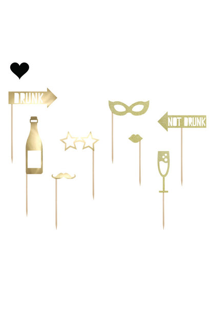 Photobooth Party props goudfolie (8st) Golden Grid