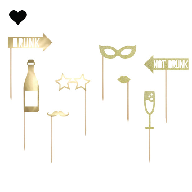 Photobooth Party props goudfolie (8st) Golden Grid-1