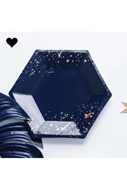 Gebaksbordjes donkerblauw goud (6 st) - Grid