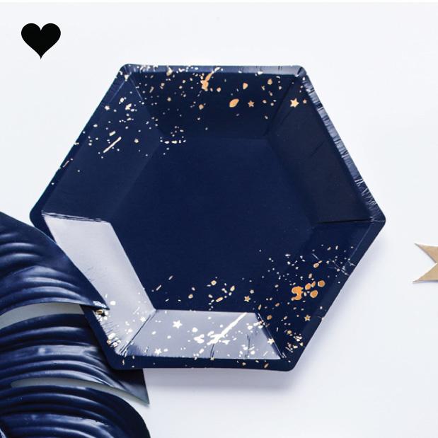 Gebaksbordjes donkerblauw goud (6st) Golden Grid-2