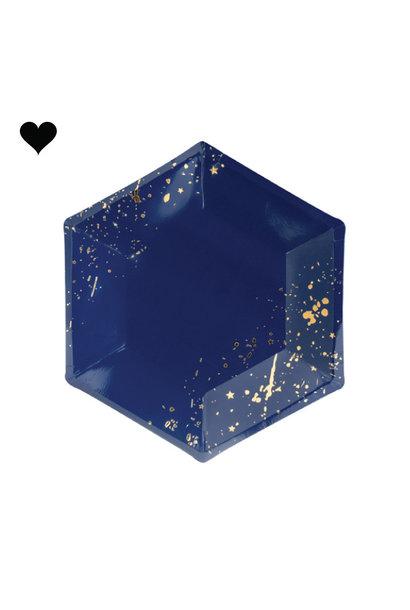 Gebaksbordjes donkerblauw goud (6st) Golden Grid