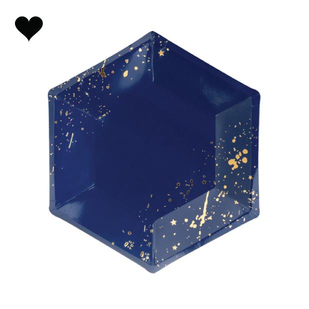 Gebaksbordjes donkerblauw goud (6st) Golden Grid-1