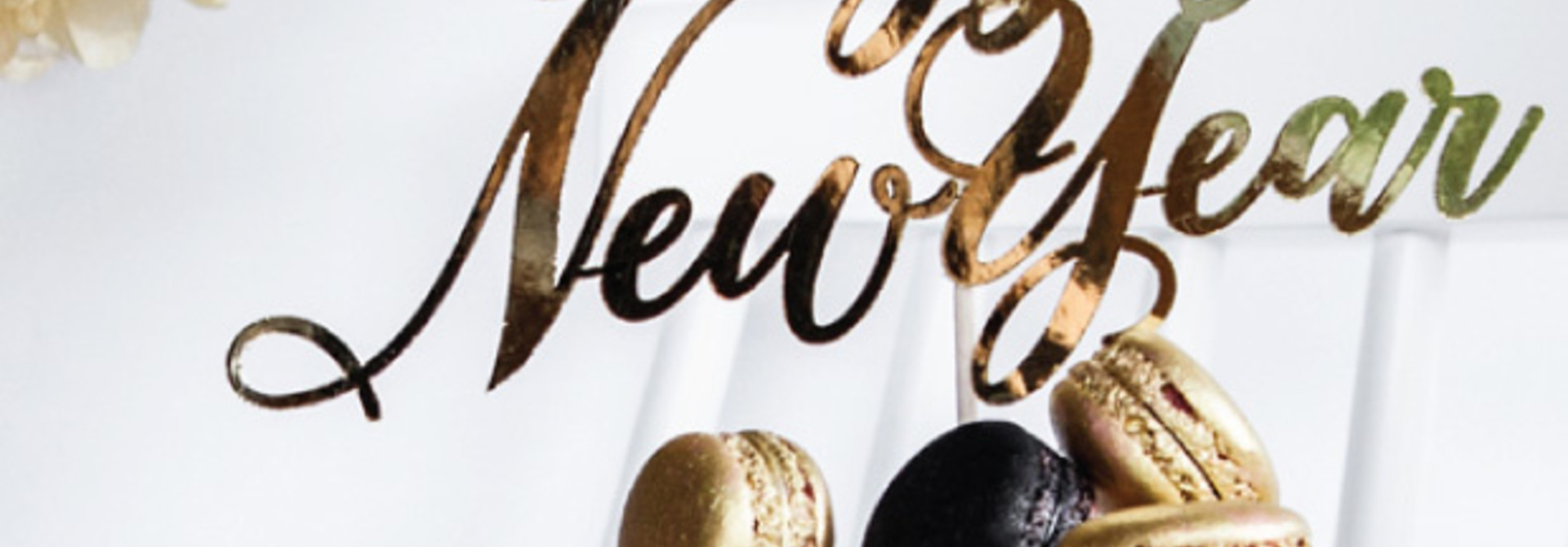 Taarttopper Happy New Year goudfolie - Black & Gold