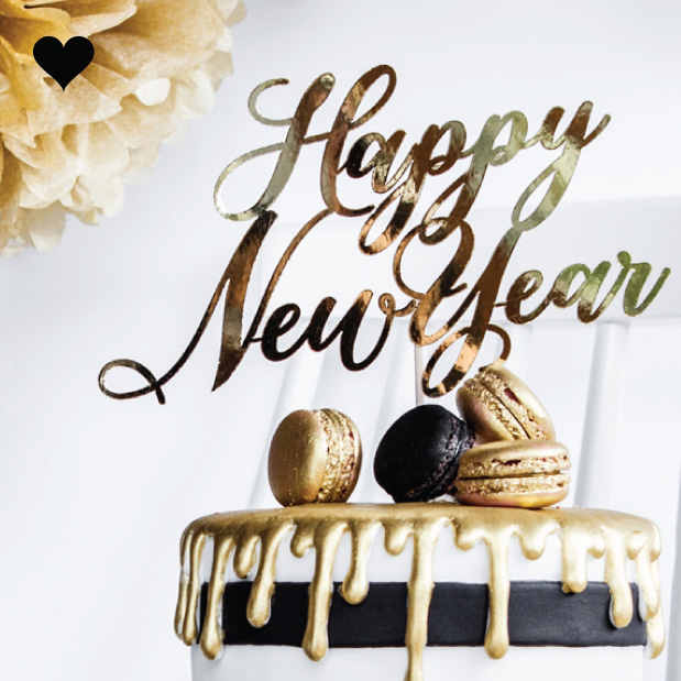 Taarttopper Happy New Year goudfolie - Black & Gold-1