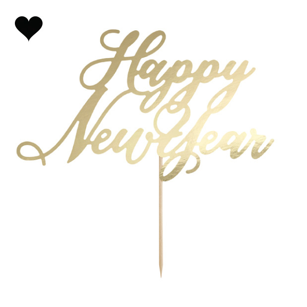 Taarttopper Happy New Year goudfolie - Black & Gold-2