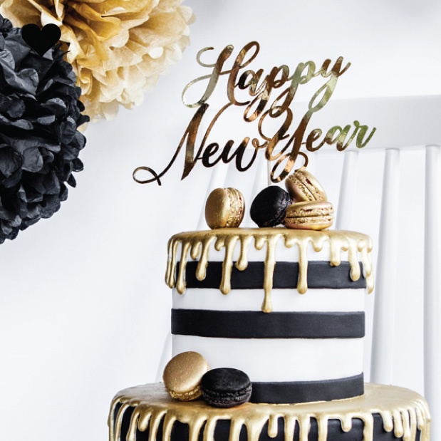 Taarttopper Happy New Year goudfolie - Black & Gold-3