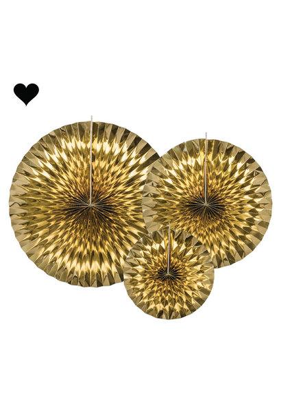 Waaiers goudfolie (3 st)