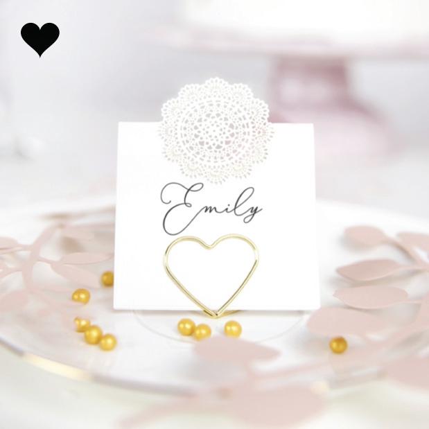 Plaatskaarthouders gouden harten (10 st)-3