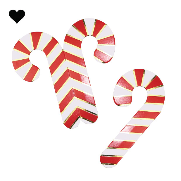 Glaskaartjes candy canes (10 st) - Ginger Ray-2
