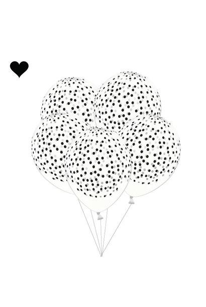 Ballonnen handgetekende stippen zwart (6 st)