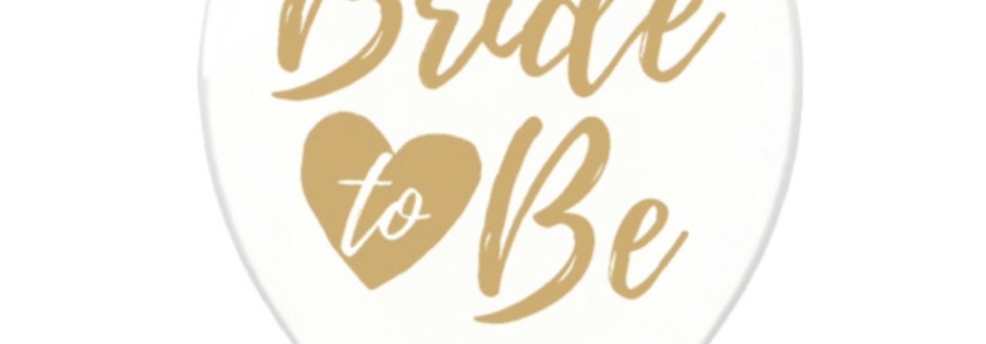 Transparante ballonnen Bride to be goud (6 st)