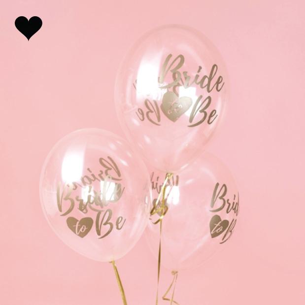 Transparante ballonnen Bride to be goud (6 st)-2